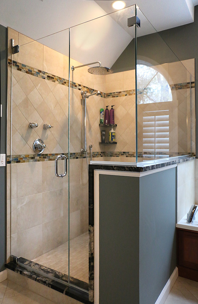 Bathroom Knee Wall large bathroom remodel - michaud enterprises llc